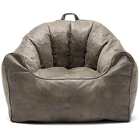 Big Joe Large Hug Bean Bag Chair, Cement and Espresso