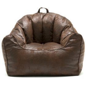 Big Joe Large Hug Bean Bag Chair, Cement and Espresso