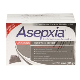 Asepxia with Activated Charcoal Purifying Effect Bar Soap, Acne Treatement, 2% Salicylic Acid (4 oz., 3 pk.)