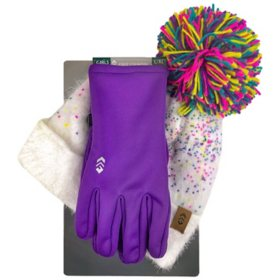 Free Country Girl's Eyelash Knit Hat and Glove Set