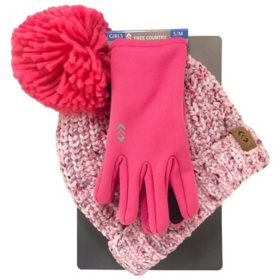 Free Country Girl's Chenille Knit Hat and Glove Set