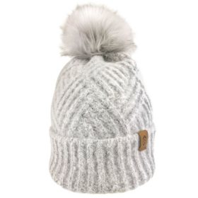 Free Country Women's Textured Knit Cuffed Beanie with Faux Fur Pom