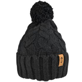 Free Country Women's Cable Knit Cuffed Beanie with Faux Fur Pom