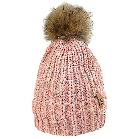 Free Country Women's Chenille Cuffed Beanie with Faux Fur Pom