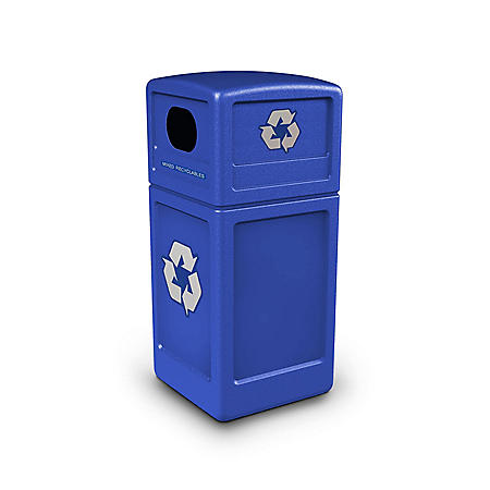 Commercial Zone Recycle Recycling Bin with Dome Lid and Decals, Polyethylene, 42 gal. (Choose Your Color)
