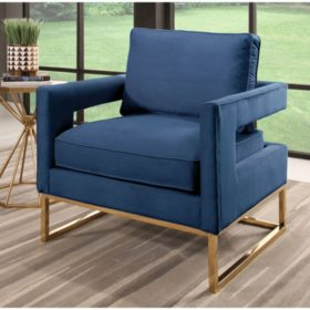 Jupiter Velvet Armchair with Stainless Steel Base (Assorted Colors)