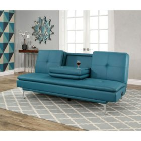 Sensational Havana Bonded Leather Sofa Bed With Console Turquoise Machost Co Dining Chair Design Ideas Machostcouk