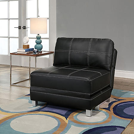 Harlow Leather Convertible Futon Chair, Assorted Colors