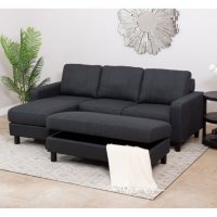 Kristen Fabric Reversible Sectional and Ottoman