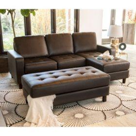 Wondrous Brayden Tufted Leather Reversible Sectional And Ottoman Inzonedesignstudio Interior Chair Design Inzonedesignstudiocom