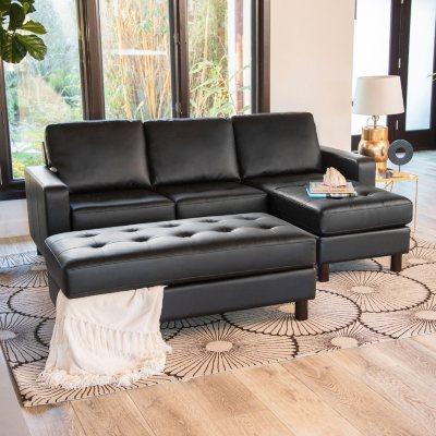 Awe Inspiring Brayden Tufted Leather Reversible Sectional And Ottoman Creativecarmelina Interior Chair Design Creativecarmelinacom