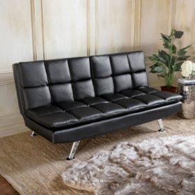 Bella Leather Split Back Sofa Bed with USB, Black