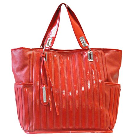 Fog by London Fog Margot Tote - Coral Pebble with Patent