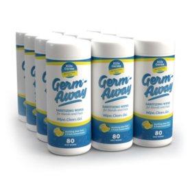 Germ-Away Antibacterial Hand Wipes (80 ct. each, 12 pk.)