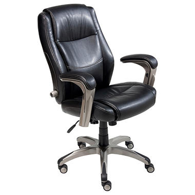 Serta Leather Memory Foam Manager's Chair - Black