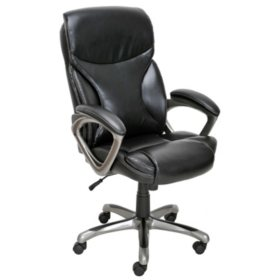 Fabulous True Innovations Bonded Leather Manager Chair Black Machost Co Dining Chair Design Ideas Machostcouk