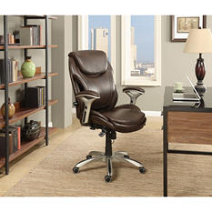Wellness by Design Bonded Leather AIR Executive Office Chair, Brown