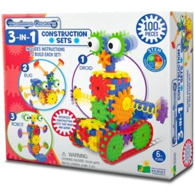 Techno Gears 3-IN-1 Construction Sets - Bionic Bug, Dizzy Droid, Wacky Robot