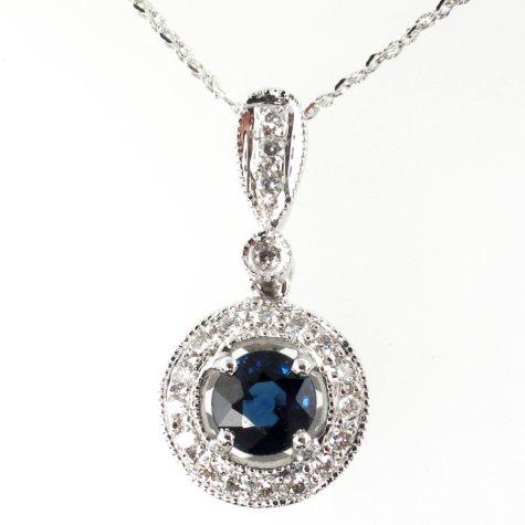 .75 ct. t.w. Sapphire and .25 ct. t.w. Diamond Drop Pendant
