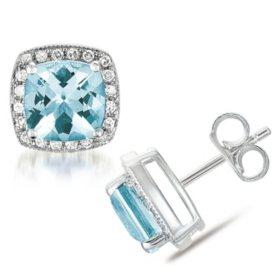 Cushion Shaped Aquamarine Earrings with Diamonds in 14K White Gold
