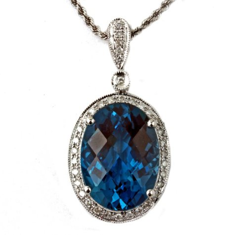 Oval-Cut London Blue Topaz Pendant with Diamonds in 14k White Gold (G, I1)