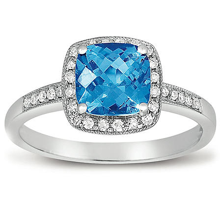 1.5 ct. Blue Topaz and Diamond Ring in 14K White Gold