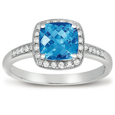 1 5 ct blue topaz and diamond ring in 14k white gold sam 39 s club. Black Bedroom Furniture Sets. Home Design Ideas