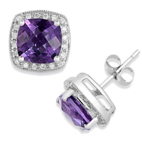 Cushion-Cut Amethyst & Diamond Earrings in 14K White Gold