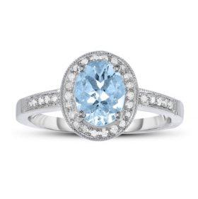 1.00 ct. Aquamarine and Diamond Ring in 14k White Gold