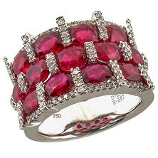 Oval Shaped Ruby Ring with Diamonds in 18K White Gold