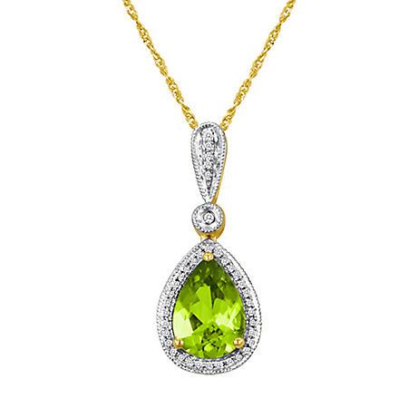 Pear-Shaped Peridot and Diamond Pendant in 14K Yellow Gold