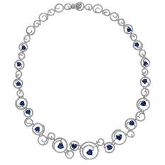 Heart-Shaped Sapphire Necklace with 6.11 ct. t.w. Diamonds in 18K White Gold