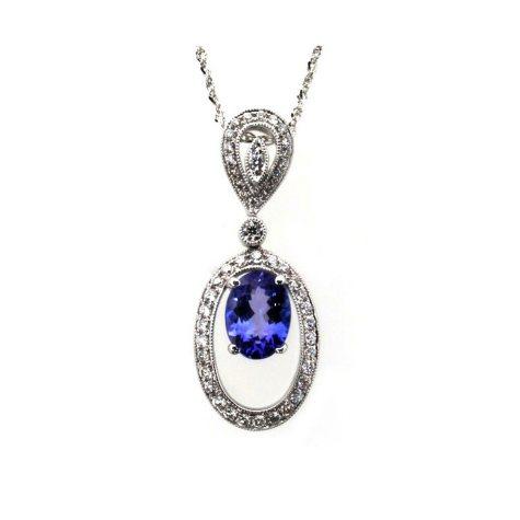 Oval Cut Tanzanite Pendant with Diamonds in 14K White Gold
