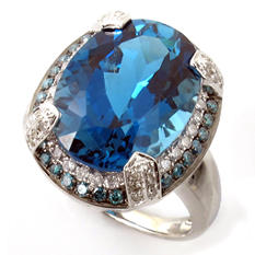 12 ct. Oval London Blue Topaz Ring with Diamonds in 14k White Gold (G, I1)