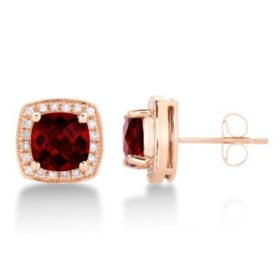 Cushion Shaped Garnet Earrings with Diamonds in 14K Rose Gold