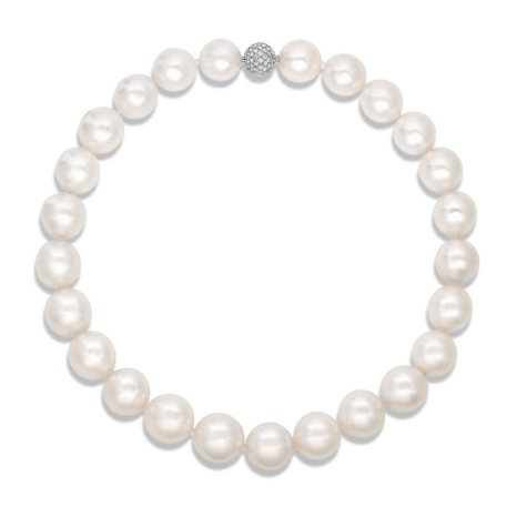 Round Shaped South Sea Pearl Necklace with Diamonds in 18K White Gold