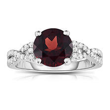 Round-Shaped Garnet Ring with Diamonds in 14K White Gold