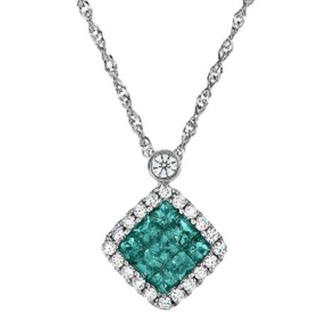 Princess Cut Emerald and Diamond Pendant in 18K White Gold