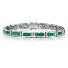 Princess Cut Emerald and Diamond Bracelet in 18K White Gold