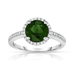 Round Cut Chrome Diopside Ring with Diamonds in 14K White Gold