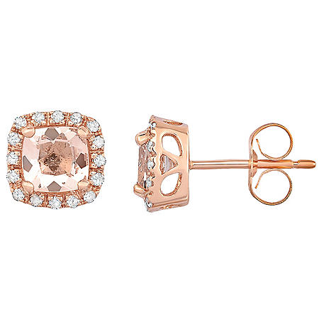 Cushion Cut Morganite Earrings With Diamonds In 14k Rose Gold