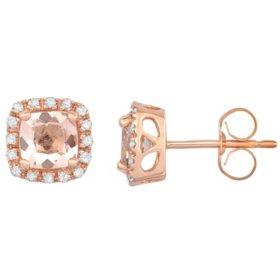 Cushion Cut Morganite Earrings with Diamonds in 14K Rose Gold