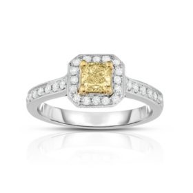 0.75 CT. T.W. Yellow Diamond Ring in 18K White Gold