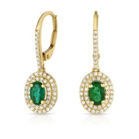 0.80 CT. T.W. Emerald Earrings with 0.35 CT. T.W. Diamonds in 14K Yellow Gold