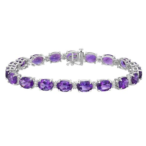 21 CT. T.W. Oval Cut Amethyst and Diamond Bracelet in 14K White Gold
