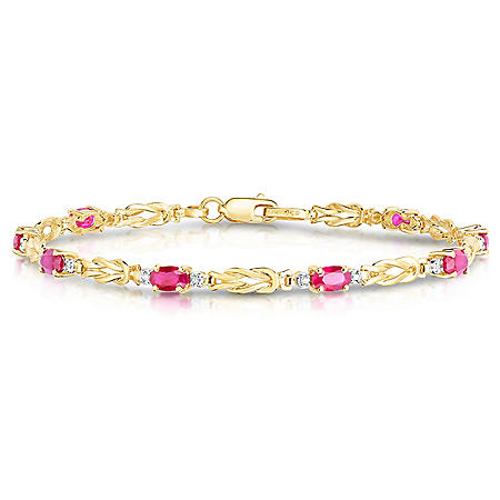 Oval Ruby Bracelet with Diamonds in 14K Yellow Gold