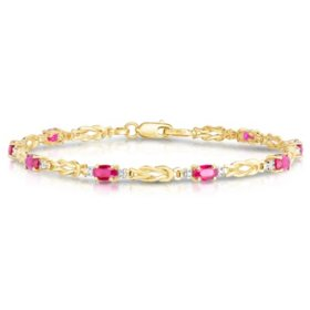 Oval Ruby Bracelet with Diamonds in 14K Yellow Gold
