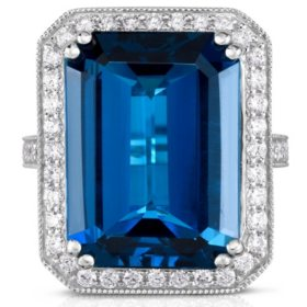 Emerald Cut London Blue Topaz Ring with Diamonds in 14K White Gold