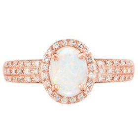 Oval Shape Opal Ring with Diamonds in 14K Rose Gold
