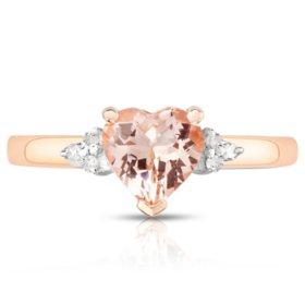 Heart Shaped Treated Morganite Ring with Diamonds in 14K Rose Gold